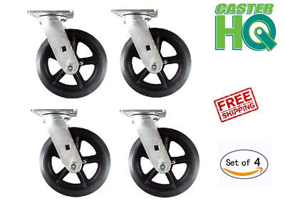 "CASTERHQ - 6"" X 2"" Dumpster  Mold On Rubber Swivel Caster (Set Of 4) Grease Zerk"