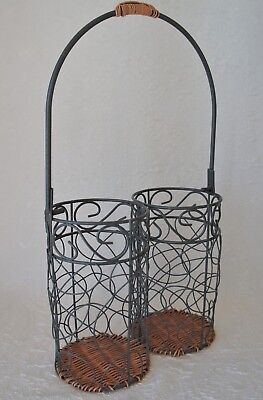 Wine Bottle Carrier, Wire & Wicker, Gray, Double Wine Caddy Holder Basket, Twin