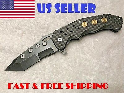 Pocket Knife Bullet Blade RAZOR TACTICAL w Fast Spring Assisted Open Tanto Point