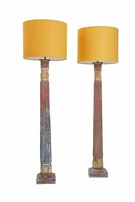 Verandah Living floor lamp with vintage stand and french linen shade