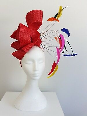 Miss Carnival womens fashion feather headband fascinator in Red and multi colour
