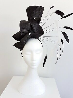 Miss Carnival womens fashion feather headband fascinator in black and white