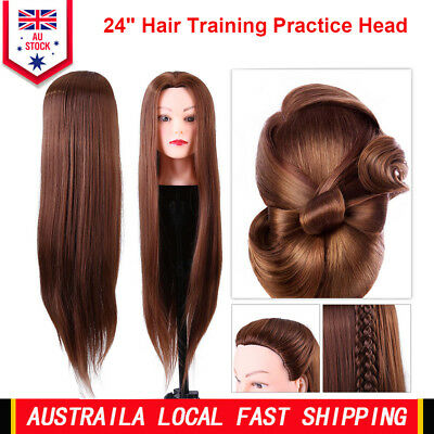 """24"""" Hair Practice Training Head Mannequin Hairdressing Doll With Clamp AU"""