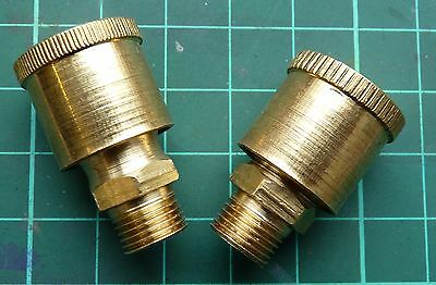 """PAIR OF 1/8""""BSP BRASS STATIONARY ENGINE STAUFFER SCREW DOWN LUBE GREASE CUPS 3cc"""