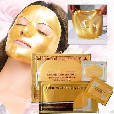 Gold Collagen Crystal Face Masks, Lip Mask n Eye mask bundle skincare firming