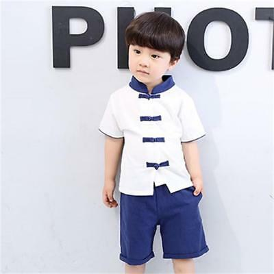 Chinese New Year festival Kids Baby boy Tang suit cheongsam top+pants 2pcs
