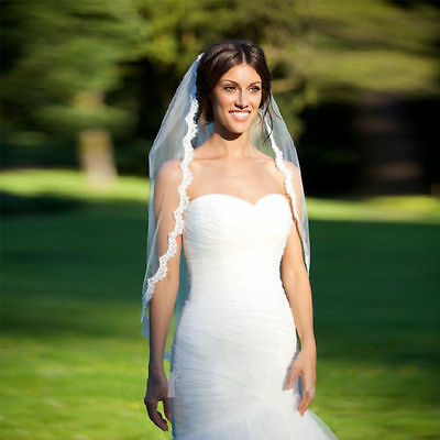 White Ivory Wedding Veil One-tier Fingertip Veils Lace Applique Edge with Comb