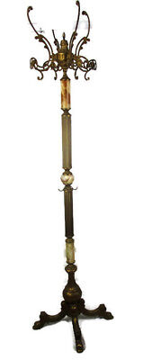 Vintage Onyx Marble Brass Hall Tree Coat Hat Rack Stand Brown Round Marble HTF
