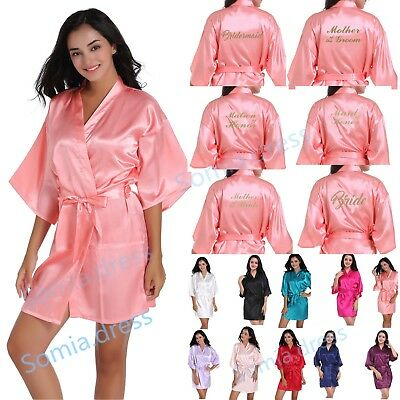 Satin Personalized Wedding Robe Bridesmaid Bride Groom Mother Silk Dressing Gown