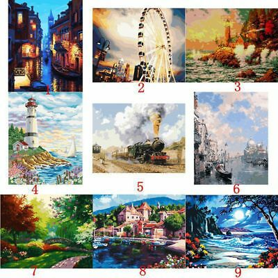 9 Types DIY Digital Oil Painting Canvas Paint By Number Kit No Frame Art Decor