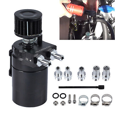 0.3L Black Baffled Aluminum Oil Catch Breather Can Reservoir Tank Universal UK