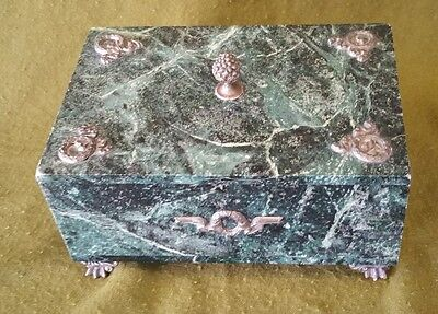 19th Century French  Empire Style Green Marble Box With Gilt Metal Fittings