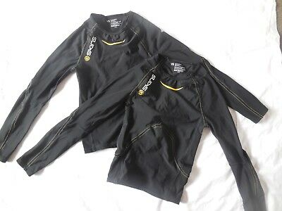 Skins A400 Youth Size Small Black Long Sleeved Compression Tops X 2