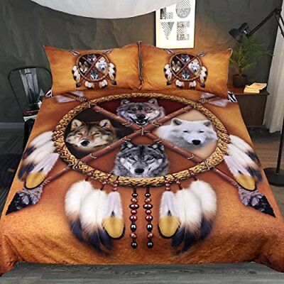 3 pcs/set QUEEN SIZE BEDDING DUVET COVER PILLOWCASE AMERICAN INDIAN WOLF FEATHER