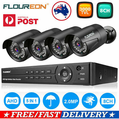 FLOUREON 8CH 1080N DVR 3000TVL Outdoor Video Camera CCTV Security System +1TB AU