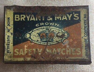 Vintage Metal Matchbox Cover Bryant And May's Crown Safety Matches Rare