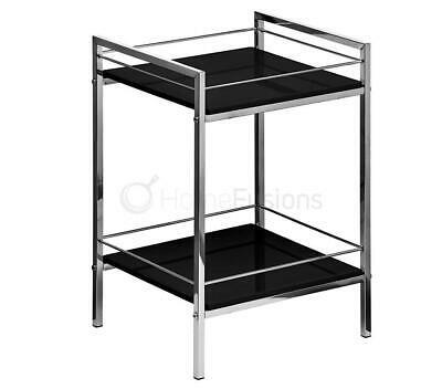 2 Tier Shelf Unit Side End Table Rectangle Black Gloss Display Metal Chrome Fram