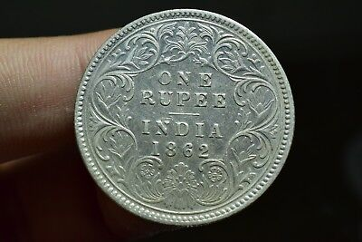 Old Antique Silver Coin British India Oueen Victoria One Rupee 1862
