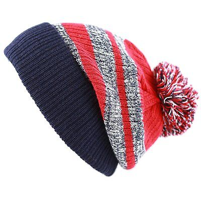 24f04a38592 THE HAT DEPOT Striped Cuffed Knit Beanie Winter Hat with Pom Navy-Red