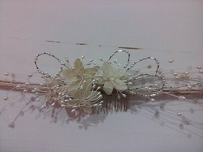 Vintage Bridal Headpiece With Gold Metal Comb