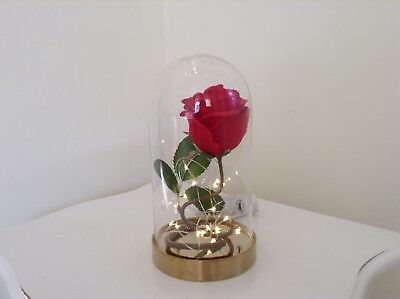 Beauty & The Beast Disney Enchanted Red Rose Glass Dome Lamp Free Gift Bag