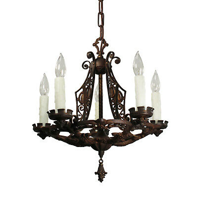 Spanish Revival Iron & Bronze Chandelier with Shields, NC2977