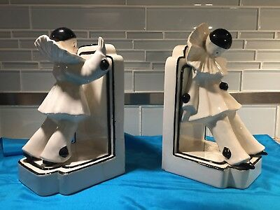 Pair of Art Deco Pierrot French Clown Bookends Fine Pair,Porcelain, So Unique