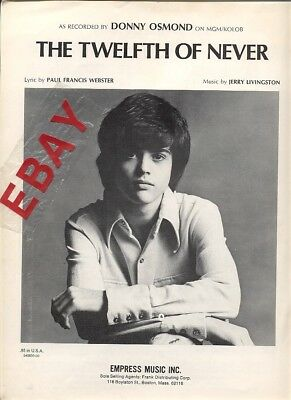 DONNY OSMOND The Twelfth Of Never sheet music