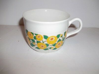 Vintage white ceramic Mug  with yellow flowers green vines all around