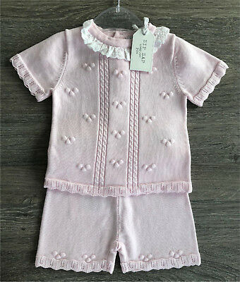 Baby Girls Pink Knitted Suit with B/A Frill Neck - Jumper and Shorts by Zip Zap