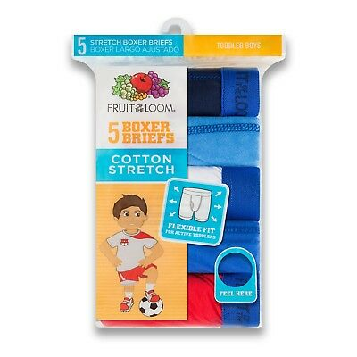 Fruit of the Loom Toddler Boys' Cotton Stretch Boxer Briefs 5 Pack 4T-5T