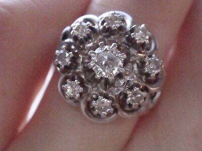 Stunning French Edwardian Art Deco 18Ct White Gold Old Cut Diamond Cluster Ring