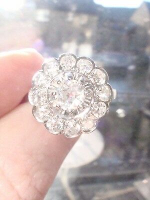 Stunning French Edwardian Art Deco Platinum Old Cut Diamond 1.40Ct Cluster Ring