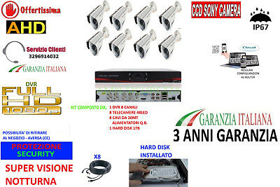 Kit Videosorveglianza Ip Cloud Dvr 8 Ch 8 Telecamere Ahd 3Mp 48 Led 1Tb