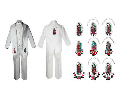 Baby Boy Baptism Formal White Paisley Suit Silver Maria on Stole & Back SM-20
