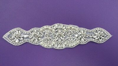Clear Rhinestone Belt / Applique for Wedding Dress, Prom, Bridesmaid acbelt1508