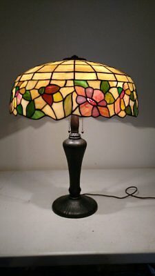 Antique Mint Handel Base with Stained Glass Shade