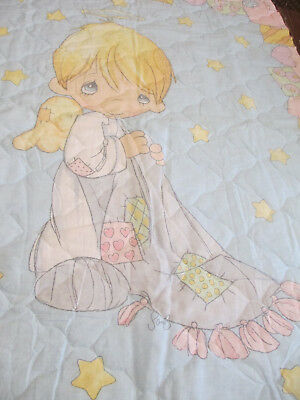 Precious Moments Pre-Quilted Nursery Baby Fabric Panel ~ Angel W/ Blanket Patch