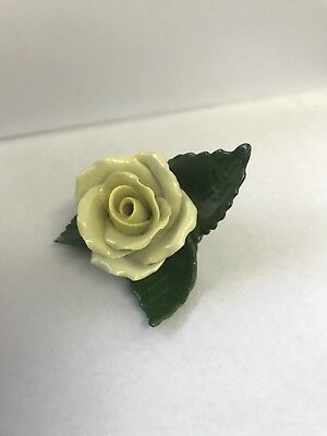 1941 HEREND 9106 YELLOW ROSE ON LEAF Place Card / Placecard Holder Figurine