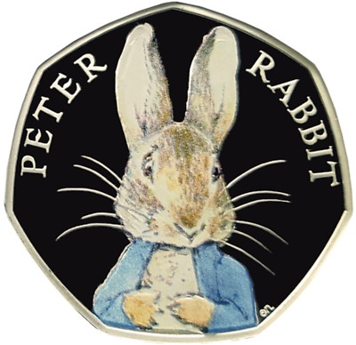 2016 Fifty Pence Colour PETER RABBIT BEATRIX POTTER 50p COIN Christmas XMAS gift