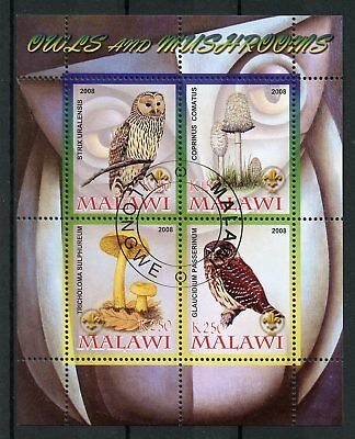 Malawi 2008 CTO Owls & Mushrooms Ural Owl 4v M/S Birds Fungi Stamps