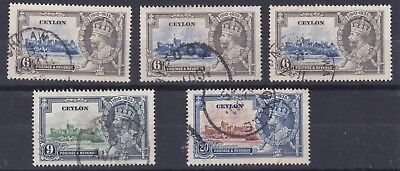 Ceylon  1935   Various Silver Jubilee Values To 20C Used