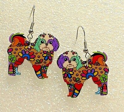 Lhasa Apso Dog Pup Double Sided Earrings Floral Multicolor Acrylic
