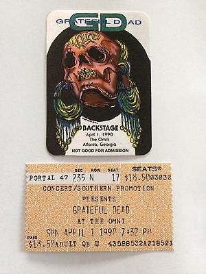 Grateful Dead Spring 1990 4/1/90 Replica Backstage Pass & Replica Ticket Stub