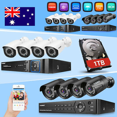 Home CCTV Security Camera System FLOUREON 8CH 1080P DVR Outdoor 3000TVL +1TB HDD
