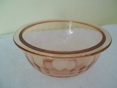 Honeycomb  Hex Optic  Depression Large  Pink Mixing Bowl Jeannette