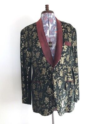 Sublimely Beautiful Vint 50s Men's Tailored Silk Brocade Tuxedo / Evening Jacket