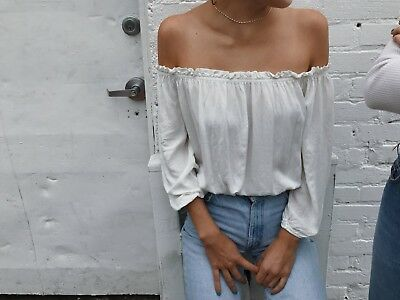 3aab126d42a61 Brandy Melville White cropped cotton off shoulder ruffle trimmed Maura Top  S M