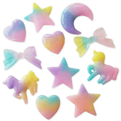 3pcs Shimmery Star, Bows Heart or Unicorn Resin Cabochons Embellishment Craft