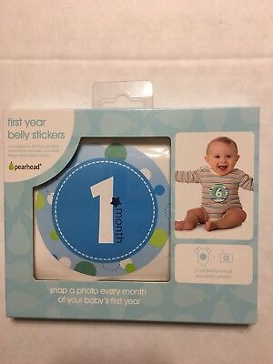 Pearhead First Year Monthly Milestone Photo Sharing Baby Belly Stickers, 1-12 M